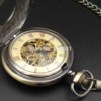 Double Open Case Mechanical Men Pocket Watch Bronze FOB