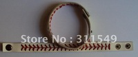 free shipping white real leather baseball seam bracelet length adjustable