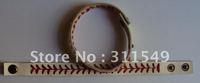 free shipping white real leather baseball seam bracelet length adjustable