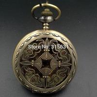 Elegant Wind Up Mechanical Skeleton Pocket Watch Bronze
