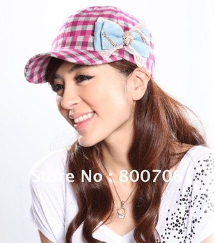 New Arrival!Woman's Fashion Baseball Cap,Plaid Cap,Lady's Cap,15 pcs,Free Shipping!
