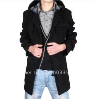 Free shipping 2011 New fashion winter cashmere Wool coat Hoodies trench coat outdoor clothes long coat windbreaker