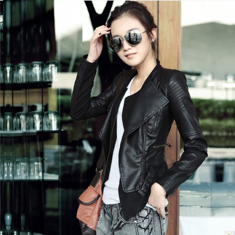 Charm Womens Sexy Ladies Black leather Jacket Coat Outerwear Leather/denim/wool Motorcycle/biker Jacket 6011D