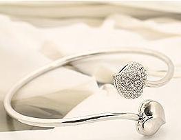 Jewelry Wholesale bangle! double heart full diamond chains silver wristband fashion thin bracelet E5042