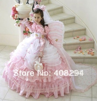 FS-fl022 2014 New Arrival Cap-sleeve Pink and White Ball Gown Little Princess Flower Girl Dress
