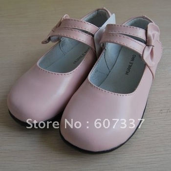 331109 Pink Bowknot Velcro Mary Jane Girls Genuine Leather School Shoes size 25-30