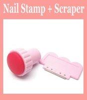 20set/lot Pink Scraping Knife + Nail Art Stamp Stamping Tools Set nail printing Free shipping