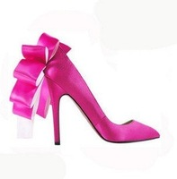 Hot selling  Women New Arrival fashion sexy Satin Bowtie high heel Wedding shoes/lady's Pump Shoes Plus Size:35-43