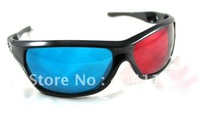 Free shipping!!!Re-useable Plastic Frame Resin Lens Anaglyphic Blue/green+ Red/Brown3D Glasses
