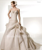 2013 gorgeous ball gown wedding dresses with Champagne organza handmade flowers asymmetrical pick up bridal gowns on hot selling