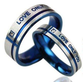 D200 Titanium Lover Couple Rings Stainless Metal Women Man Dual wedding Rings Blue Love only You Size 5~10 Free Shipping