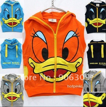 Free shipping 20pcs Fashion Donald Duck kid clothes/wear .cartoon children clothing.cute coat