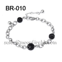 316L stainless steel Black jet crystal CZ ball high quality chain bracelet luxury design 2012 collection best item(China (Mainland))