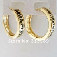 MIN ORDER 10$/FREE SHIPPING/GREEK KEY 18K GOLD SOLID GP FILLED ENAMEL HOOP EARRING /GREAT GIFT/
