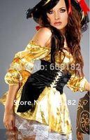 Free Shipping Wholesale Yellow Pirates Costume Halloween Costume  w2001