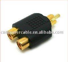 100pcs RCA AV Audio Y Splitter Plug Adapter 1 Male to 2 Female