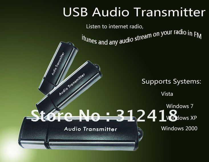 USB Transmitter FM USB AUDIO Transmitter So Clear and Beautiful sounds for PC / laptop (100% quality assurance Free shipping)(China (Mainland))