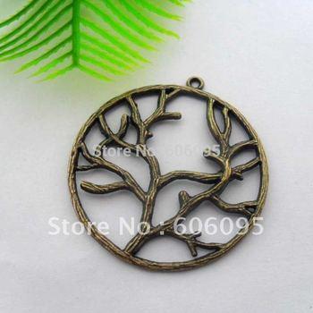 Free shipping retail  Ancient Bronze plating  tree  charms QM0043   40x40mm  50pcs/lot