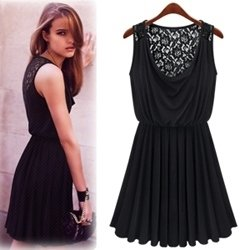 Black Lace Dress  Sleeves on Black Lace Openwork Sleeveless Dress Elegant Sexy Little Black Dress