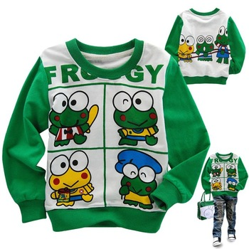 Free shipping 2011 new style boy frog comfortable sweatshirt for spring and autumn wholesale and retail