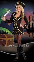 Free Shipping wholesale black sexy pirate costume  halloween Apparel cosplay dress  w2013