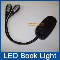 Black Book Light Clip Dual 2 Arm 4 LED Flexible Stand Laptop Lamp LED Book Light,Read Light,Whole Sale,Drop Shipping,Retail
