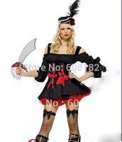 Free Shipping wholesale black pirates'dress  halloween clothes (dress+hat) w2032