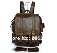7038B-2 Vintage Leather Style Dark Brown Men's Backpack Bag Travel Bag Optional LOGO FREE SHIP