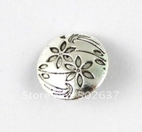 FREE SHIPPING 120PCS Tibetan silver flower round button beads A15355