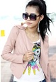 Sexy Womens Korea Ladies Pink Round Collar Top leather Jacket Zipper Short Coat Outerwear 1253 (Drop Shipping Support)