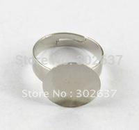 FREE SHIPPING 120PCS Adjustable Ring Base Blank Glue-on 15mm Pad #20555
