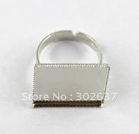 FREE SHIPPING 120PCS Adjustable Ring Base Blank Glue-on 19mm SQUARE #20557