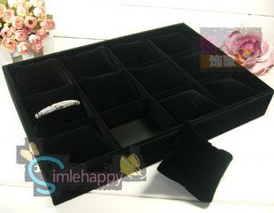High Quality Black Velvet 12 Booths Bracelet Tray Jewelry Tray,Bracelet /Watch Display Shelf Stand Jewelry Display