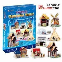 2012+Free shipping+3 D puzzles, 3 D model, the world series paper houses