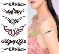 Free shipping 100% New Style Temporary Tattoo Sticker Decal Paster  6 Designs :Cat+Butterfly+2Flowers+Anchor Fluke Hook+Armlet