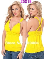 Yellow color sexy t shirt,one size,DL25018