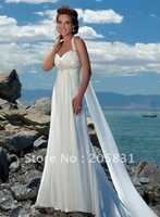 Свадебное платье 2013 New! A line White Strapless Court Train Crystals Taffeta Beach Wedding Dresses OW002121