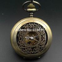 Black Dial Mechanical Skeleton Pocket Watch Bronze Tone