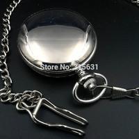 Double Open Case Mechanical Pocket Watch Silver Tone NR