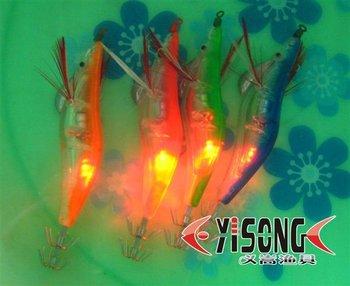 Wholesale 3.94 inches/0.43 OZ,20pcs/lot Squid Fishing Jigs Lures LED Light electronic Wood Shrimp led flashing fishing lure