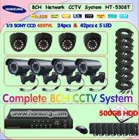 HT-5308T 4-9mm Varifocal Adjust IR Waterproof Camera CCTV System 500GB HDD Free Shipping!
