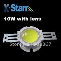 Wholesale 10W High Brightness led 800-900lm +60/90/140 degree LENS , 10pcs/lot,2years Warranty+Free shipping