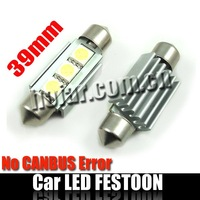 CANBUS Error-free Festoon LED Lamp 39mm 3SMD Xenon White HK Post Free Shipping