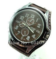 Free Shipping Wholesale fashion brown leather strap quartz men's watch, Buy 10 Get 1 Free w9