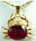 china beijing Beautiful Charming red ruby crystal crab pendant and necklace K90 free shopping