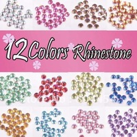 Free shipping Wholesale 12 sets NAIL ART RHINESTONE GLITTER ROUND 12 COLORS NA-9
