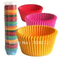 wholesale-free shipping 600pcs/lot food grade paper cupcake cases baking tool cake cup muffin cases colors
