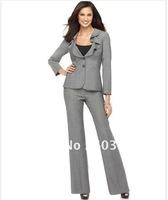 Ladies Suit   Fashionable Suit   Designer Suit  Long Sleeve Ruffle Collar Jacket & Pants Light Gray Suit  Custom Made Suit  683