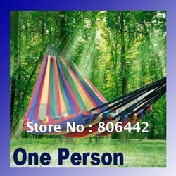 Canvas 195 X 80cm Single hammock tourism camping hunting Leisure Fabric Stripes freeshipping dropshipping(China (Mainland))