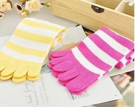 Hot sale&amp;amp; free shippingEMS 5 fingers socks/ five toe sock / gilrs&amp;#39; lovely stripe stockings, 100pairs/lot